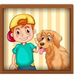 happy boy with dog photo vector image