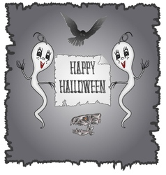 Happy Halloween ghosts and owl with skull vector