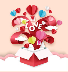 happy valentines day open love gift box with vector image