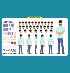 Hipster creation kit set flat male cartoon vector