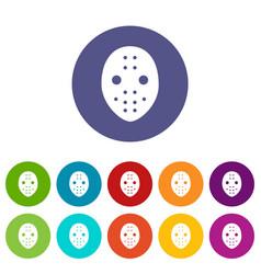 Hockey goalkeeper helmet icons set color vector