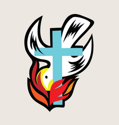 holyspirit with cross vector image