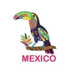 Isolated image of Mexican bird Toucan vector