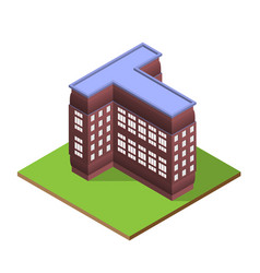 Isometric building letter t form vector