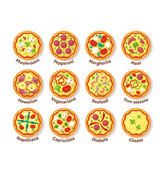 Italian pizza traditional delicious food with vector