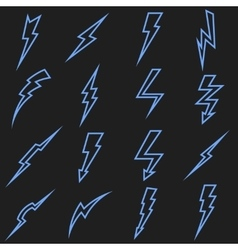 Lightning black linear outline icons set vector image