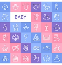 Line Art Baby Icons Set vector image