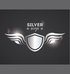 luxury silver wings vector image