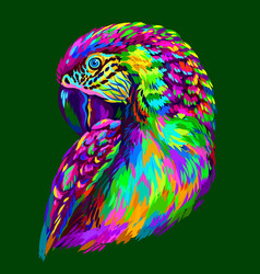 macaw parrot abstract neon macaw parrot portrait vector image