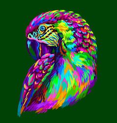 Macaw parrot abstract neon parrot portrait vector