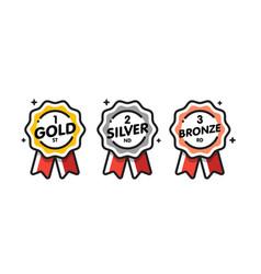 medal set gold silver bronze vector image
