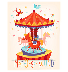 merry go round carousel fun fair festival poster vector image