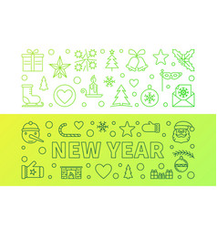 new year outline green modern vector image