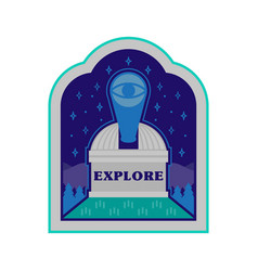 observatory on mountain patch sticker vector image