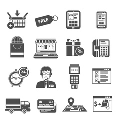 Online Icon Black Set vector image