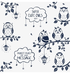 Owls funny vector