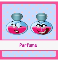 Perfume funny characters on a blue background vector
