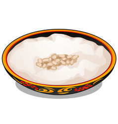 plate with russian traditional ornament with vector image