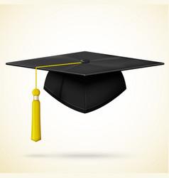 Realistic graduation cap with golden bob vector