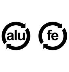 Recyclable aluminium alu and steel fe sign black vector