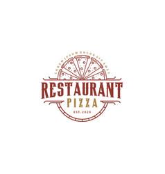 Restaurant pizza logo design vintage vector