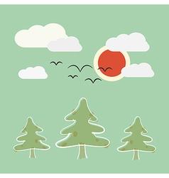 Retro Flat Design Nature Landscape with Sun Trees vector