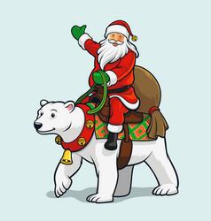 santa riding polar bear vector image