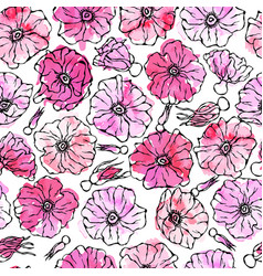 Seamless pattern watercolor wild rose pink flower vector
