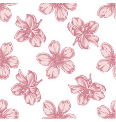 seamless pattern with hand drawn pastel almond vector image