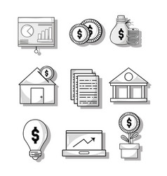 Set financial business to commerce economy vector