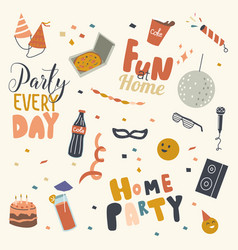 Set home party icons birthday hats stroboscope vector