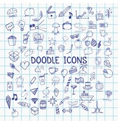 Set of pen doodle icons on notebook sheet vector image