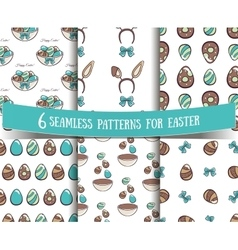 Set Of Seamless Patterns Easter vector image vector image