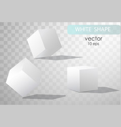Set of white cubes in different projections vector