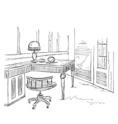Sketch interior comfortable workplace vector