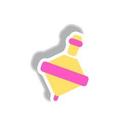 Stylish icon in paper sticker style toy whirligig vector