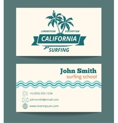 Surfing card template vector image