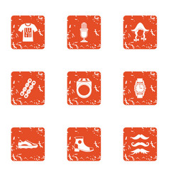Teuton icons set grunge style vector