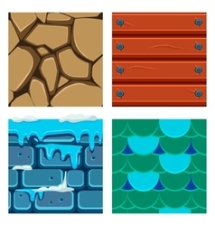 Textures for platformers icons set wood vector