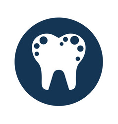 Tooth with spots isolated icon vector