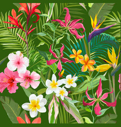 tropical seamless floral summer pattern vector image