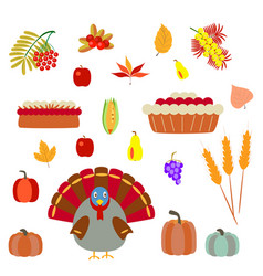 turkey and pie on a white background vector image
