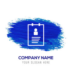 User identity card - blue watercolor background vector
