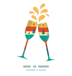 Vibrant ikat stripes toasting wine glasses vector