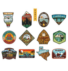 Vintage hand drawn travel badges set camping vector