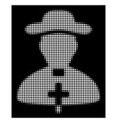 white halftone priest icon vector image
