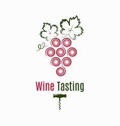 wine grape logo tasting label on white vector image
