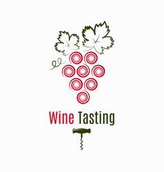 wine grape logo wine tasting label on white vector image
