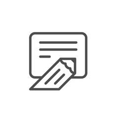 Writing line icon vector