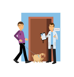 young man at the veterinary doctor with his dog vector image vector image